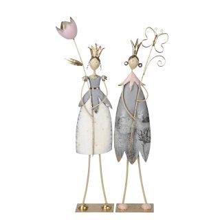 große dekorative nostalgische Dekofigur Gartenfee Metall gold rosa grau mit rosa Blume oder goldenem Schmetterling