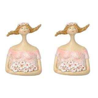 dekorativer kleiner Dekokopf Ladykopf Büste Dame mit Blumen und Blütenkranz rosa-rot Preis für 2 Stück