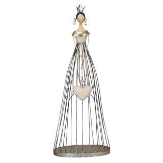 große dekorative nostalgische Dekofigur Prinzessin mit Herz als Windlichtfigur Metall silber creme