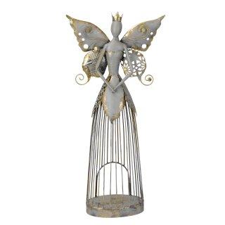 nostalgischer stimmungsvolle Deko Elfe oder Engel mit Schmetterlingsflügeln als Windlicht graubraun mit etwas gold antike shabby Optik