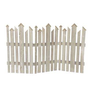 dekorativer braungrauer Dekozaun Holz-Zaun Jäger-Zaun 3 Elemente zum klappen ca. 120 cm lang x 75 cm hoch