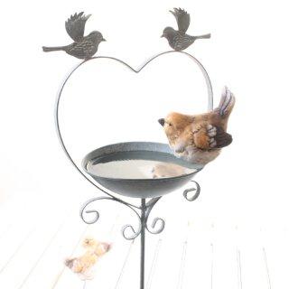 Meisenknödelhalter als Gartenstecker 2 x Vogel auf Herz