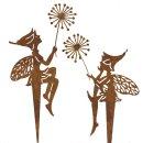 dekorativer Deko-Stecker Pick Elfe Wichtel Blumenkind mit Pusteblume Metall edelrost als 2-er Set