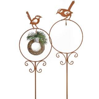 Meisenknödelhalter als Gartenstecker Vogel auf Ring Preis für 2 Stück