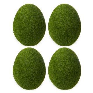 dekoratives frühlingshaftes kleines Deko-Ei Keramik-Ei Oster-Ei grasgrün beflockt Preis für 4 Stück
