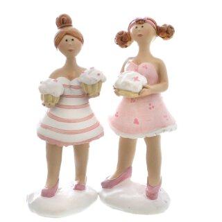 witzige kleine Dekofigur Cupcake Lady in rosa-weiß