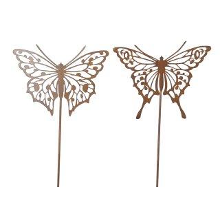 dekorativer Gartenstecker Beetstecker Gartendeko mit Schmetterling Edelrost Preis für 2 Stück