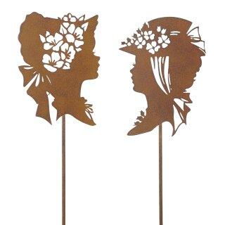 dekorativer nostalgischer Gartenstecker Silhouette Mädchenkopf Edelrost Preis für 2 Stück