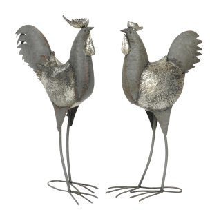 dekorativer Deko-Hahn Deko-Huhn Garten-Deko Metall grau shabby Optik 2 Motive zur Auswahl