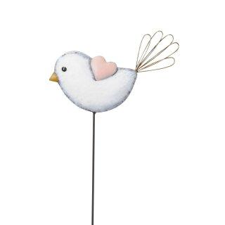 dekorativer verspielter Gartenstecker Beetstecker Vogel mit Herzchen Metall rosa weiß