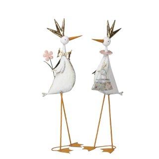 großer dekorativer Dekovogel als Prinzessin oder Prinz mit Krone Garten-Deko Metall weiß rosa gold 2 Motive zur Auswahl