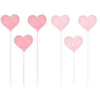 dekorativer kleiner Dekostecker Pick Herz aus Holz in rosa und pink