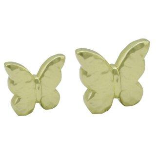 dekorativer Deko-Schmetterling Keramik hellgrün metallic in 2 Größen