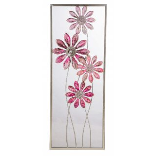 dekoratives Wanddeko Objekt aus Metall Motiv stilisierte Blüten rosa grau gold