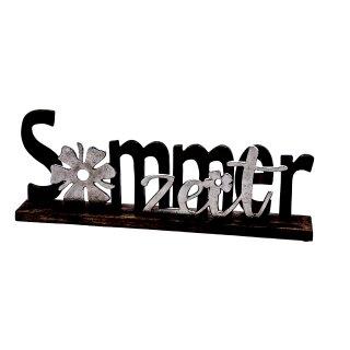 dekorativer Schriftzug SOMMERZEIT aus Mangoholz und Aluminium