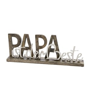 dekorativer Schriftzug PAPA IST DER BESTE aus Mangoholz und Aluminium
