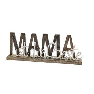 dekorativer Schriftzug MAMA IST DIE BESTE aus Mangoholz und Aluminium