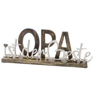 dekorativer Schriftzug OPA IST DER BESTE aus Mangoholz und Aluminium