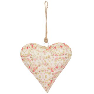 dekorativer Anhänger Herz leicht bauchig beidseitig mit rosa Blumenmuster in Landhausoptik