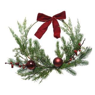 großer dekorativer weihnachtlicher Dekokranz Türkranz mit Kunsttanne bruchsicheren Kugeln und Samtschleife komplett fertig dekoriert