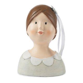 kleiner Ladykopf Braut mit Blume im Haar in cremeweiß