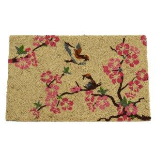 rutschfeste Fussmatte Kokosmatte Trittmatte Motiv 2 Vögel in Kirschblütenzweigen