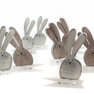 Oster-Dekoclip Hasenclip Oster-Deko Holz-Hase 2 Farben Preis für 6 Stück