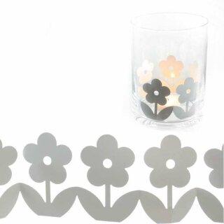 Dekogirlande Blumenreigen Metall weiß