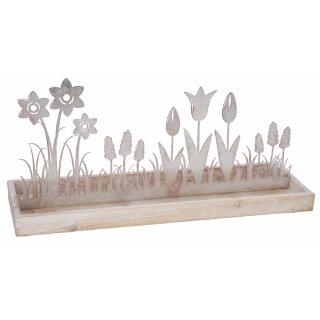 dekorative frühlingshafte große Dekolandschaft Blumenwiese als Silhouette shabby hellrose metallic