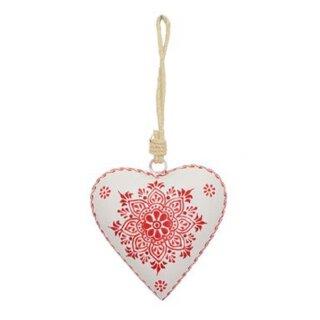 dekorativer Anhänger Herz Metall cremeweiß rot beidseitig handbemalt im Landhausstil