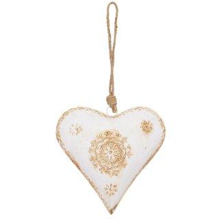 dekorativer Anhänger Herz Metall bauchig beidseitig creme-beige handbemalt antik patiniert Landhausoptik