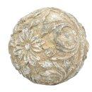 dekorative Deko-Kugel mit floral-nostalgischem Muster beigebraun shabby Vintage Landhaus Optik