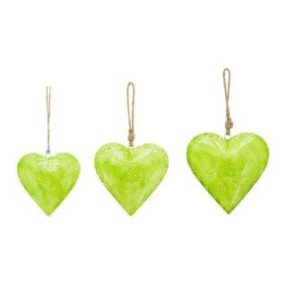 dekorativer Anhänger Herz mit dezentem Muster Metall beidseitig hellgrün glänzend