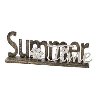 dekorativer Schriftzug SUMMERTIME aus Mangoholz und Aluminium