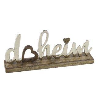 dekorativer Schriftzug DAHEIM aus Mangoholz und Aluminium