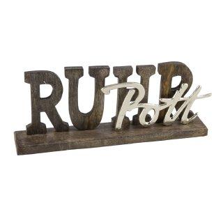 dekorativer Schriftzug RUHRPOTT aus Mangoholz und Aluminium