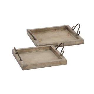 dekoratives Tablett als 2-er Set rechteckig im vintage Landhaus-Stil shabby braun