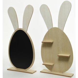 extra großer frühlingshafter putziger Deko-Hase Osterhase als Silhouette aus Holz mit Regalböden oder als Tafel