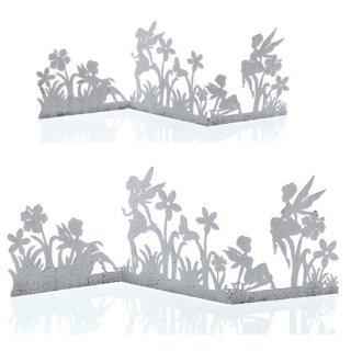 dekorative originelle Deko-Leiste Miniparavent Motiv Fee oder Elfe in Blumenwiese shabby weiß
