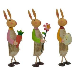 putziger bunter Osterhase mit Ei Möhre Blume Holz mit Metall von Hand bemalt Preis für 1 Stück