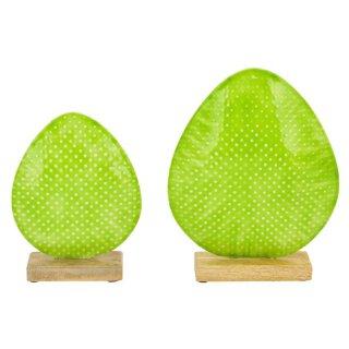 dekoratives frühlingshaftes Deko-Ei Oster-Ei als bauchige Silhouette Metall beidseitig emailliert in hellgrün