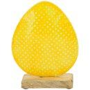 dekoratives frühlingshaftes Deko-Ei Oster-Ei als bauchige Silhouette Metall beidseitig emailliert in gelb