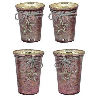 dekoratives Tisch-Windlicht Garten-Windlicht unebene shabby Vintage Optik mit Straßsternchen altrosa