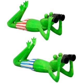 lustiger Metall-Frosch liegend als Spannerfrosch Froschfigur mit Fernglas Preis für 1 Stück