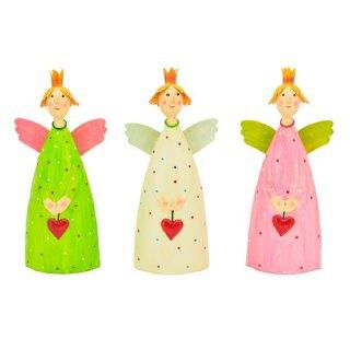 dekorativer Engel Schutzengel Leni zu stellen mit Herzchen Krönchen und Flügelchen Metall handbemalt
