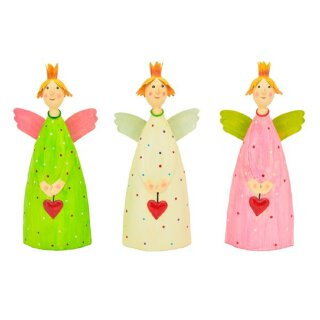 dekorativer Engel Schutzengel Lina zu stellen mit Herzchen Krönchen und Flügelchen Metall handbemalt