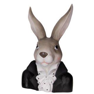 putziger origineller Osterhase als Büste im Anzug mit gepunktetem Rüschenhemd schwarz-weiß