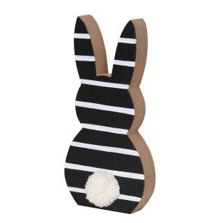 putzige Silhouette Osterhase aus Holz mit Puschel schwarz-weiß gestreift