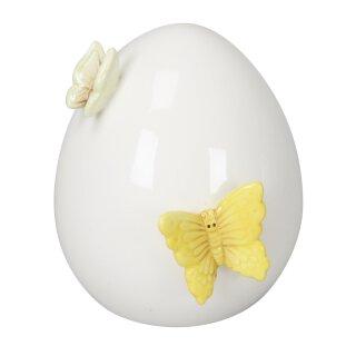 dekoratives frühlingshaftes Deko-Ei Keramik-Ei Oster-Ei Keramik weiß glänzend mit gelbem und hellgrünem Schmetterling