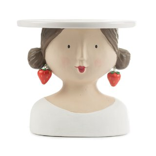 Ladykopf Dame mit Erdbeerohrringen als Kuchenplatte